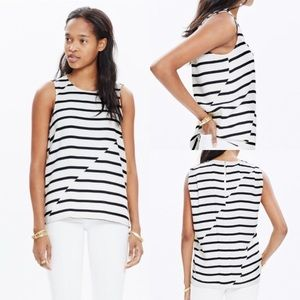 Madewell Striped Crepe Draped Top-Black/White-Med